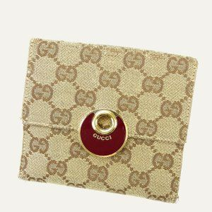Gucci Wallet Purse Folding wallet G logos Red Beige Woman Authentic Used